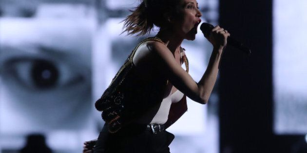 Leah Fay of the July Talk performs during the JUNO awards show at the Canadian Tire Centre in Ottawa,...