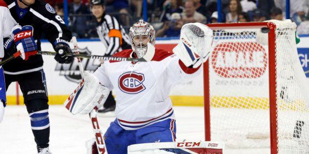 Apr 1, 2017; Tampa, FL, USA; Montreal Canadiens goalie Carey Price (31) makes a save as Tampa Bay Lightning...