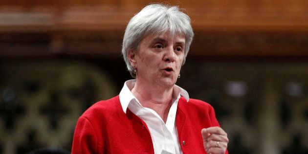 New Democratic Party (NDP) Member of Parliament (MP) Helene Laverdiere speaks during Question Period...