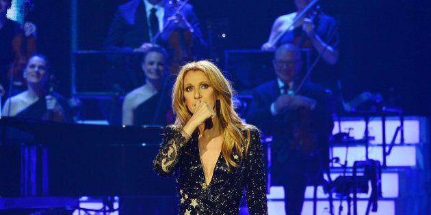 LAS VEGAS, NV - FEBRUARY 23: (EXCLUSIVE COVERAGE) Celine Dion gives a speech paying tribute to her late...