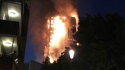 Incendie d'un HLM à Londres: des images de l'enfer dans la nuit