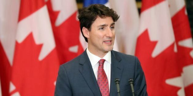 Canadian Prime Minister Justin Trudeau speaks during a press conference with Chilean President Michelle...