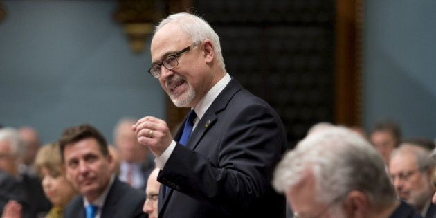 Quebec's Minister of Finance Carlos Leitao speaks as he tables his budget at the National Assembly in...
