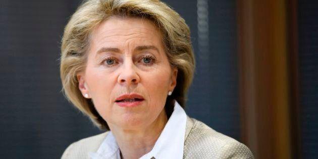 German Defence Minister Ursula von der Leyen talks during an interview with journalists at AFP's office...