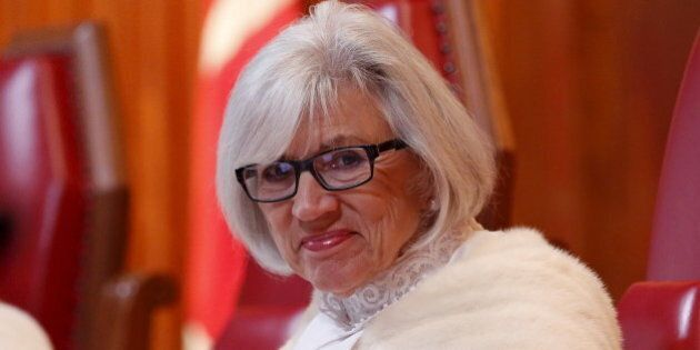 Canada's Supreme Court Chief Justice Beverley McLachlin takes part in a welcoming ceremony at the Supreme...