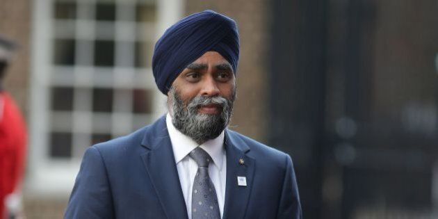 Canadian Minister of National Defence Sajjan Harjit arrives for the UN Peacekeeping Defence Ministerial meetings at Lancaster House in London on September 8, 2016.The meeting follows the Leaders Summit on Peacekeeping in September 2015. / AFP / DANIEL LEAL-OLIVAS (Photo credit should read DANIEL LEAL-OLIVAS/AFP/Getty Images)