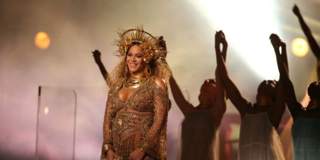 Beyonce performs at the 59th Annual Grammy Awards in Los Angeles, California, U.S. , February 12, 2017....