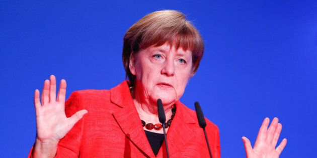 German Chancellor Angela Merkel gives a speech at the demographic summit in Berlin, Germany, March 16,...