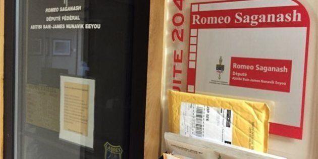Le bureau du député néo-démocrate Romeo Saganash est fermé à