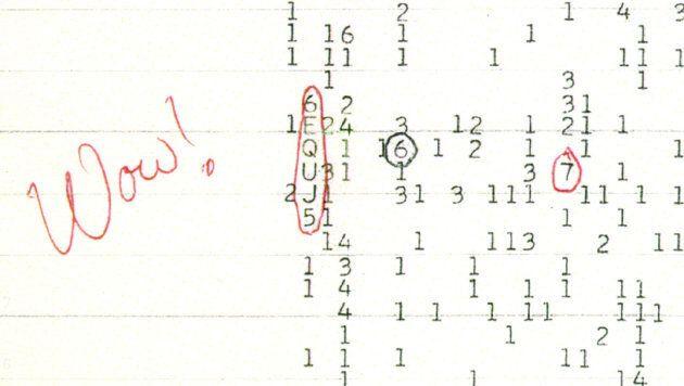 """Sur la bande de papier observée par Jerry Ehman, les lettres entourées représentent l'intensité du signal, notée de 1 à Z. A la place des 1 et 2 couramment observées dans l'espace, la lettre U représente un """"bruit"""" 30 fois supérieur."""