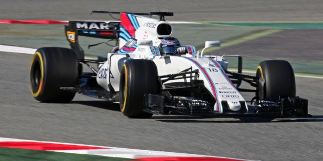 The Williams of Lance Stroll during day three of Formula One winter testing at Circuit de Catalunya on...