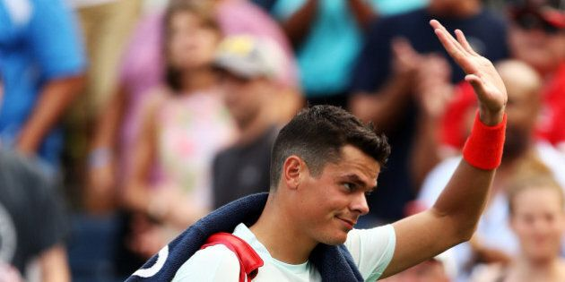 NEW YORK, NY - AUGUST 31:  Milos Raonic of Canada walks off the court after his loss to Ryan Harrison of the United States during his second round Men's Singles match on Day Three of the 2016 US Open at the USTA Billie Jean King National Tennis Center on August 31, 2016 in the Flushing neighborhood of the Queens borough of New York City.  (Photo by Elsa/Getty Images)