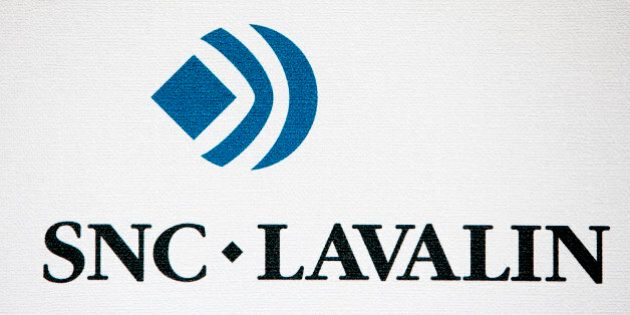 The logo of SNC-Lavalin Group Inc. is displayed during the 21st World Energy Congress in Montreal, Quebec,...