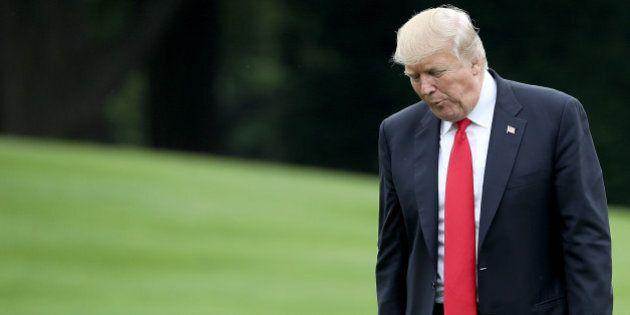 WASHINGTON, DC - JUNE 07: U.S. President Donald Trump returns to the White House June 7, 2017 in Washington,...