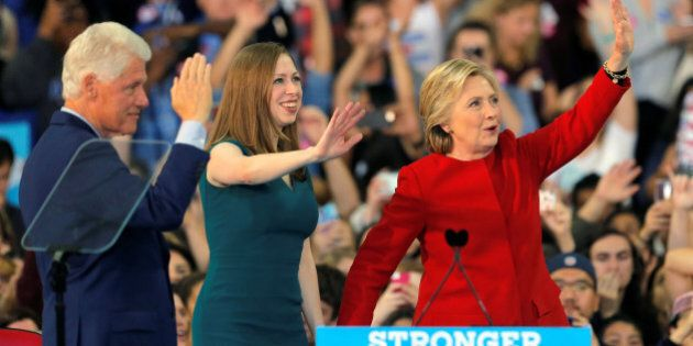 Democratic presidential nominee Hillary Clinton along with her husband former President Bill Clinton...