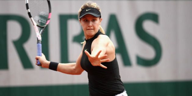 PARIS, FRANCE - MAY 30: Eugenie Bouchard of Canada plays a forehand during the ladies singles first round...