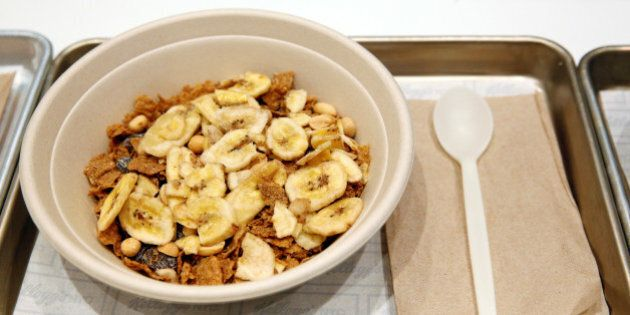 A bowl of 'The Circus' cereal, which is Raisin Bran with toasted peanuts and banana chips, is displayed...