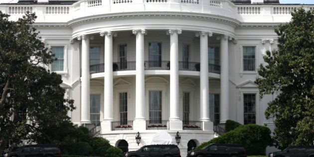 U.S. President Donald Trump's motorcade arrives at The White House in Washington, D.C. after visiting...