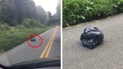 Cette femme voit un sac poubelle bouger et arrête sa voiture pour le sauver