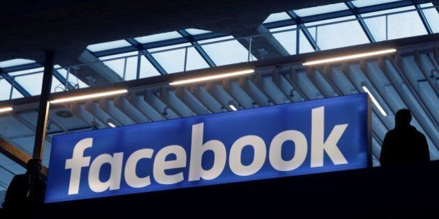 Facebook logo is seen at a start-up companies gathering at Paris' Station F in Paris, France, January...