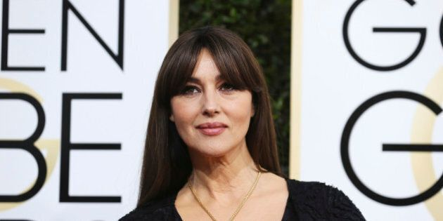 Actress Monica Bellucci arrives at the 74th Annual Golden Globe Awards in Beverly Hills, California,...