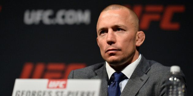 LAS VEGAS, NV - MARCH 03: Georges St-Pierre speaks to the media during the UFC press conference at T-Mobile...