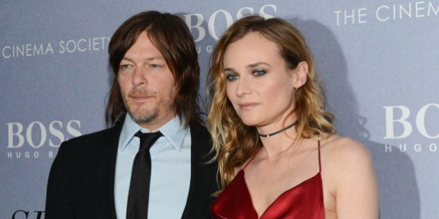 NEW YORK, NY - APRIL 14: Diane Kruger and Norman Reedus attend The Cinema Society And Hugo Boss Host...