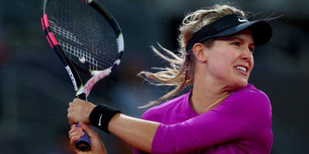 MADRID, SPAIN - MAY 11: Eugenie Bouchard of Canada in action against Svetlana Kuznetsova of Russia on...