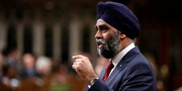 Canada's Defence Minister Harjit Sajjan speaks during Question Period in the House of Commons on Parliament...
