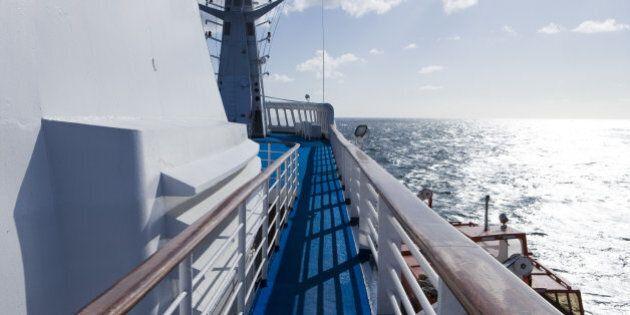 Cruiseship MS Princess Daphne and sunlit ocean, North Sea,