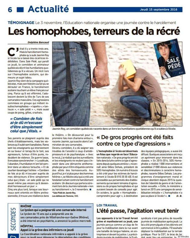 Jasmin Roy fait les manchettes du quotidien 20 Minutes en France pour son livre «Sale
