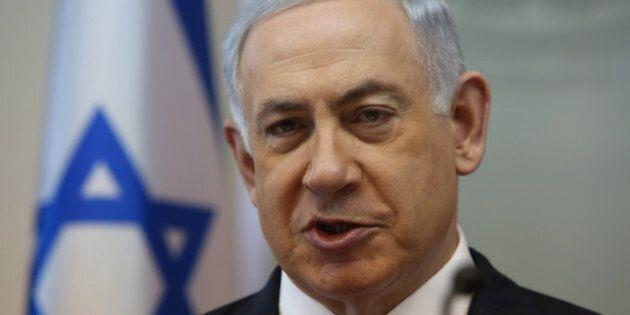 Israeli Prime Minister Benjamin Netanyahu opens the weekly cabinet meeting at his Jerusalem office on...