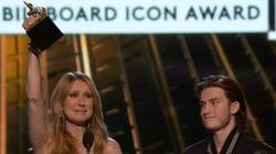 Céline Dion émue de recevoir le prix ICON des mains de son fils