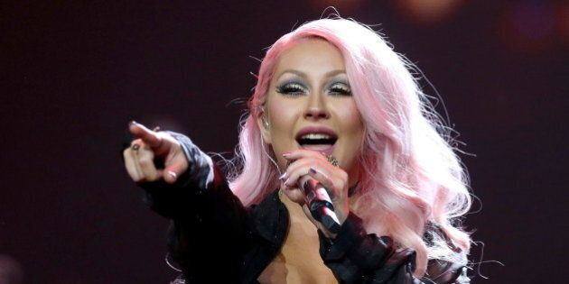 MOSCOW, RUSSIA - DECEMBER 7, 2016: American singer and songwriter Christina Aguilera performs during...