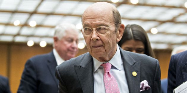 Wilbur Ross, U.S. commerce secretary, exits after speaking during the 47th annual Washington Conference...