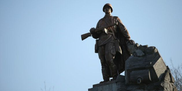 SEELOW, GERMANY - APRIL 15: Agiant, bronze statue of a Soviet Red Army soldier stands at the Seelower...
