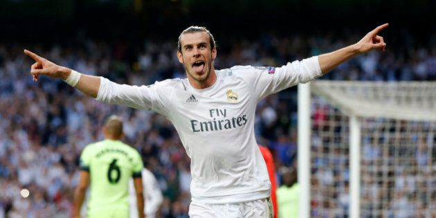 MADRID, SPAIN - MAY 04: Gareth Bale of Real Madrid celebrates after scoring the opening goal during the...