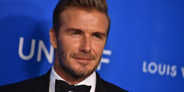 David Beckham arrives at the Sixth Biennial UNICEF Ball at the Beverly Wilshire Four Seasons Hotel on Jan.  12, 2016 in Beverly Hills, Calif. (Photo by Jordan Strauss/Invision/AP)