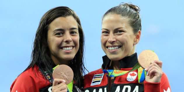 RIO DE JANEIRO, BRAZIL - AUGUST 09: Meaghan Benfeito and Roseline Filion of Canada win Bronze in the...