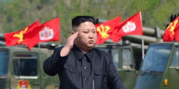 North Korea's leader Kim Jong Un watches a military drill marking the 85th anniversary of the establishment...