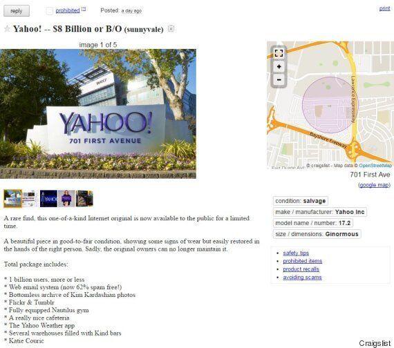 Yahoo est à vendre sur Craigslist, faites votre meilleure