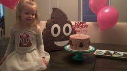 Cette fillette voulait une fête d'anniversaire sur le thème du caca et elle l'a