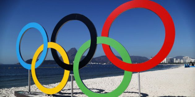 RIO DE JANEIRO, BRAZIL - AUGUST 14: The Olympic Rings are seen on local beach on Day 9 of the Rio 2016...