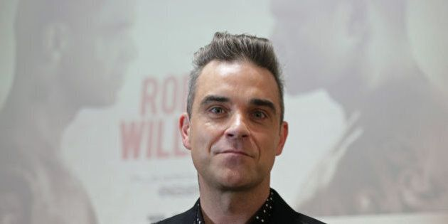 The former Take That star Robbie Williams speaking at a press conference in London, where he announced...