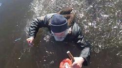 Voyez le sauvetage impressionnant de ce pêcheur piégé dans un lac