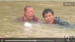 Sauvetage dramatique d'une femme et son chien submergés d'eau dans une voiture en Louisiane
