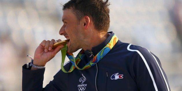 2016 Rio Olympics - Canoe Slalom - Victory Ceremony - Men's Canoe Single (C1) Victory Ceremony - Whitewater...