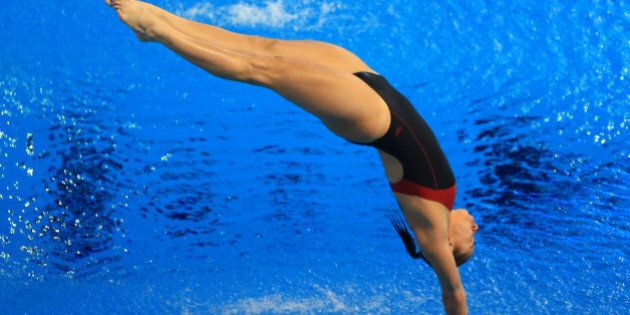 GATINEAU, QC - APRIL 6: Pamela Ware of Canada competes in the Women's 3m Prelim during Day One of the...