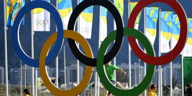 RIO DE JANEIRO, BRAZIL - AUGUST 11: A general view of the Olympic rings during the first round of men's...