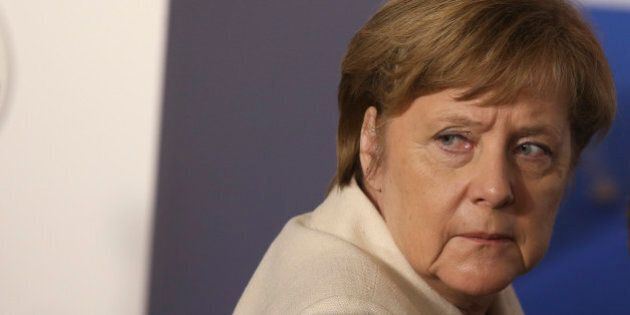 German Chancellor Angela Merkel looks back during the EU leaders meeting on the 60th anniversary of the...